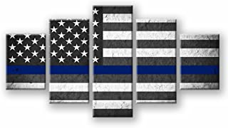 US USA American Flag Military Canvas Print Wall Art Thin Blue Line Home Decor Decals Pictures Poster for Living Room Bedroom Dining Room Office 5 Panel Paintings Framed Ready to Hang (60