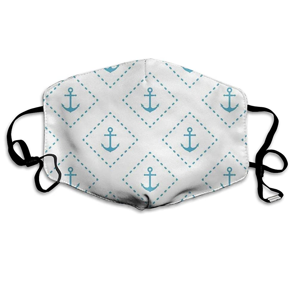 Whages Nautical Seamless Pattern∶ Anchor Washable Reusable Safety Breathable Mask, 4.3