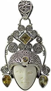 Sterling Silver Carved Bone Face with Citrine Pendant