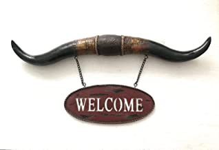 Handmade European Cold Cast Bronze Sculpture Western Steer Long Horn Bull Toro Welcome Wall Mount Sign Sculpture Statue Sale-UKYC181379Y-Decor Collectible Gift