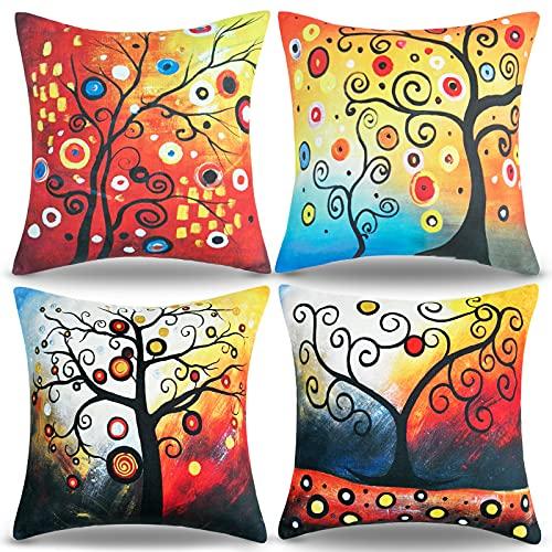 Copricuscini Divano 45x45 Rosso Albero Della Vita Federe Per Cuscino Colorato Fodere Per Cuscini Decorativi In Lino Stile Country Del Divano Autunno