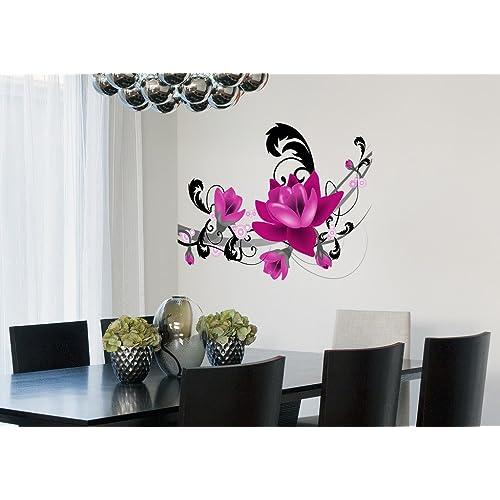 Decals Design 'Big Purple Flowers Arrangement' Wall Sticker (PVC Vinyl, 50 cm x 70 cm x 1 cm),Multicolour