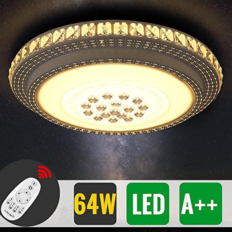 64W Farbwechsel LED Deckenlampe Dimmbar Fernbedienung Stern Kristall Deckenleuchte Runde Lampe frmige Energiesparlampe für Flur Wohnzimmer Schlafzimmer Büro 20-30m2