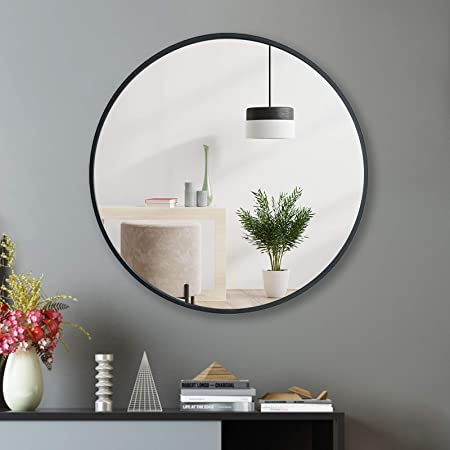 and More Vanity Room Circle Wall Mounted Mirror for Bathroom Hallway Entryways 15.7-Inch Brushed Metal Framed Mirror Black FANYUSHOW Round Wall Mirror Living Room