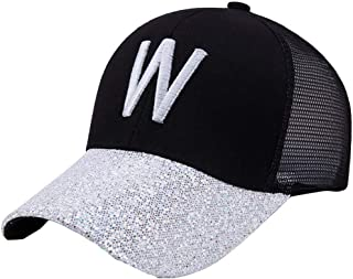 MKJNBH Splice Sequin Baseball Cap Summer Outdoor Breathable Sun Block Screen Hat Letter Simple Fashion