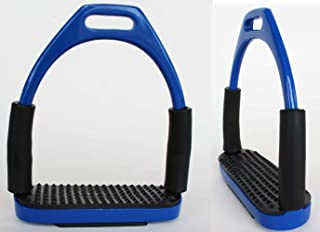 CHALLENGER Horse Saddle English Riding Flex Iron Double Jointed Stirrups Blue 51112RB