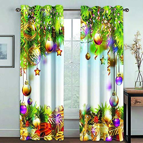 YUNSW Navidad 3D Impresión Digital Cortinas Opacas Sala De Estar Cocina Y Dormitorio Cortina De Aislamiento Térmico Opaco Juego De 2 Piezas