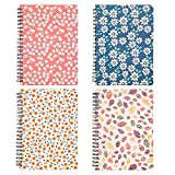 Spiral Notebook 5×7 Inch, 4 Pack Spiral Bound Small Journals, Hardcover Floral Notebook Wide Ruled for Studio Girls Women, Inner Pocket, 80 Sheets/160 Pages, B6 Size