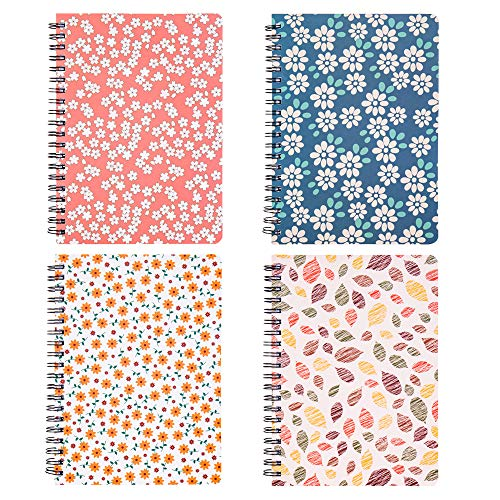 Spiral Notebook 5�7 Inch, 4 Pack College Ruled Spiral Bound Notebooks, Hardcover Floral Notebooks for School Students, 80 Sheets/160 Pages, B6 Size, Assorted Colors