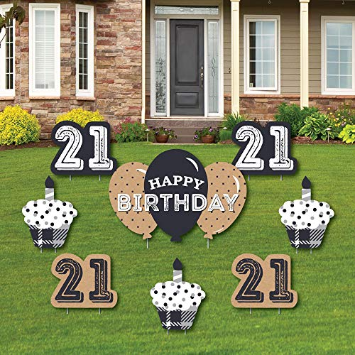Big Dot of Happiness Finally 21-21st Birthday - Yard Sign and Outdoor Lawn Decorations - 21st Happy Birthday Party Yard Signs - Set of 8