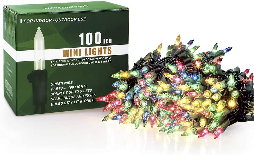 Hopolon Outdoor Christmas Lights,120V UL Certified 2 Pack 13ft 50 LED Mini String Lights Connectable Multicolor 2 pcs Waterproof Fairy Lights for Garden Xmas Tree Wedding Wreath Party Decoration