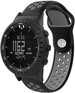 vovi for Suunto Core All Black Sports Smart Watch with Breathable Soft Lugs Silicone Replacement Wristband Strap W/Tools