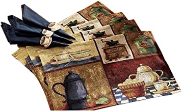 Set of 4 Creative Coffee House Painting Placemat Polyester Table Setting Mat