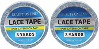 2 Rolls Double-Sided Lace Front Support Tape, No Shine (0.85 cm X 3 Yards) Super Adhesives for Lace Front Wigs, Toupees, Hair Extensions, Hairpieces (blue)