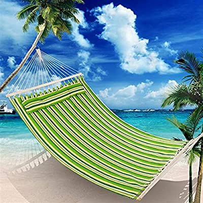 CAIDE-STORE Double Hammock with Spreader Bar and Detachable Pillow, Heavy Duty Stylish, Portable, Perfect for Indoor/Outdoor Camping Patio Deck Yard- Green Strips (Green)