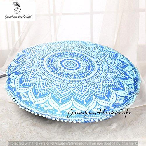 Indien Mandala décoratif Hippie Tapisserie Fait Main Boho Coussin, siège pouf Ottoman ronde Housse de coussin de méditation Bohemian Pillow Insert, Cycle Mandala Coussin Throw, Mandala Floor Pillow