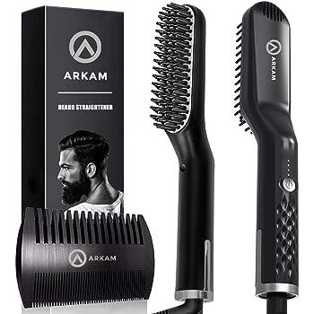 Arkam Premium Beard Straightener for Men - Cutting Edge Ionic Beard Straightening Comb, Heated Hair Straightener for Men, Beard Comb and Heated Beard Brush, Dual Action Fine Wooden Comb & Travel Bag