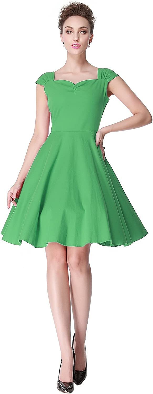 Heroecol Vintage 1950s 50s Dress Style Retro Rockabiily Cocktail Sweetheart Neck