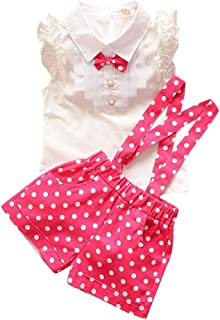 YTS Hopscotch Girls Cotton Top and Polka Dots Shorts Set with Suspender in Red Color for Ages 9-12 Months