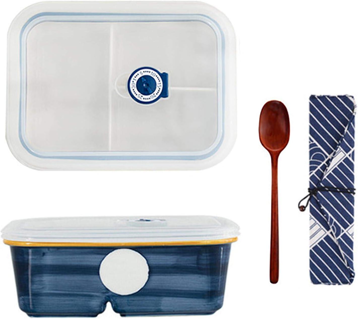 Fiambrera de cerámica con compartimentos, fiambrera con cuchara, fiambrera de cerámica con compartimentos, para niños y adultos, 880 ml, color azul