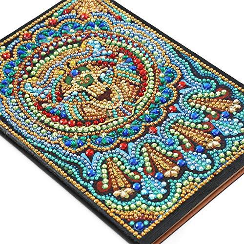 YANZHU Cuaderno de 50 Páginas de Pintura de Diamantes Cuaderno A5 de Punto de Cruz con Bordado de Diamantes en Forma de Mandala Diario Sencillo de Cuero Artificial con Patrón de Forma
