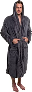 Ross Michaels Men's Hooded Robe - Plush Shawl Kimono Bathrobe