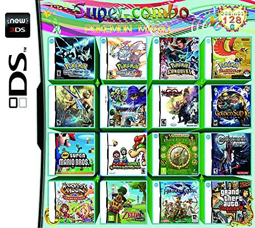 Antetek 208 Games in 1 Ds Games Card Super Combo Cartridge NDS Game Pack for DS NDS NDSL NDSi 3DS XL New