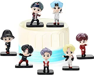 REYOKG BTS Cake Topper Pastel Decoración Suministros 7Pcs Bangtan Boys Figures Toy BTS Juguetes Muñeca Hecha a Mano Muñeca...