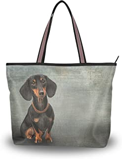 Tote Top Handle Shoulder Bag Funny Dog Breed Dachshund Handbag - 15.7x11.4x3.5in - by Top Carpenter