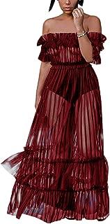Women's Sexy Lace Off Shoulder High Wasit Flared Mesh Club Maxi Dress S-XXXL