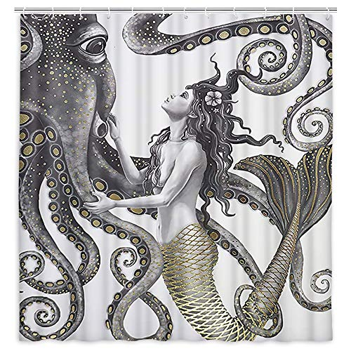 Mermaid and Octopus Shower Curtain, Abstract Ocean Nautical Fantasy Animals Decorative Bathroom Fabric Waterproof Polyester Shower Curtain, Artistic Boho Farmhouse Mystic Shower Curtains, 69X70IN