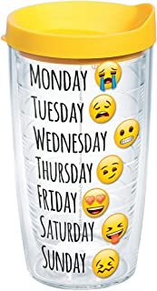 Tervis 1232816 emoji - Days of the Week Tumbler with Wrap and Yellow Lid 16oz, Clear