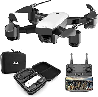 SMRC S20 RC Drone with HD 5MP 1080P WiFi Camera Quadrocopter 120°Wide-Angle 2.4G,FPV Folding RC Helicopter Selfie Drone, 4-Channels Quadcopter,3D Flips LED Light Headless Mode