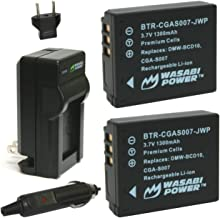 Wasabi Power Battery (2-Pack) and Charger for Panasonic CGA-S007, DMW-BCD10 and Select Panasonic Cameras