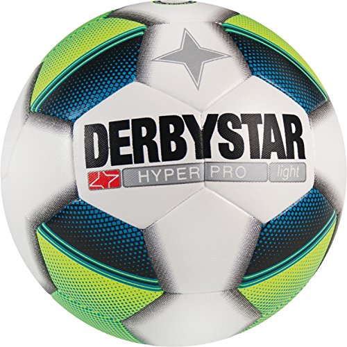 Derbystar Hyper Pro Light - Balón de fútbol para niños, Unisex niños, Fútbol, 1021500156, Blanco, Amarillo, Azul, 5