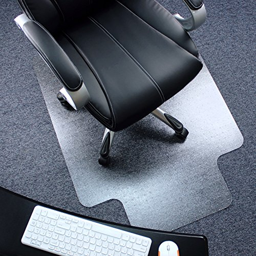 """Marvelux 47"""" x 53"""" Heavy Duty Polycarbonate Office Chair Mat with Lip for Carpets 