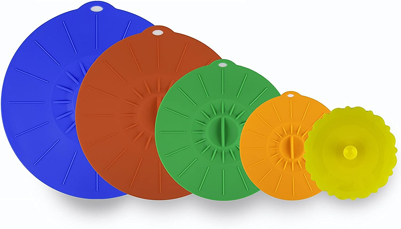Kitchen Winners Set Of 5 Silicone Microwave Plate Covers Bowl Lids Various Sizes Multi Color