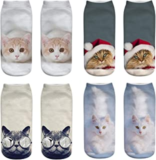 FENGXU 3D Printed Cosplay cat Socks Fashion Unisex Cute Locomotive Cowboy Gentleman Boxing Character Cat Ankle Socks,G