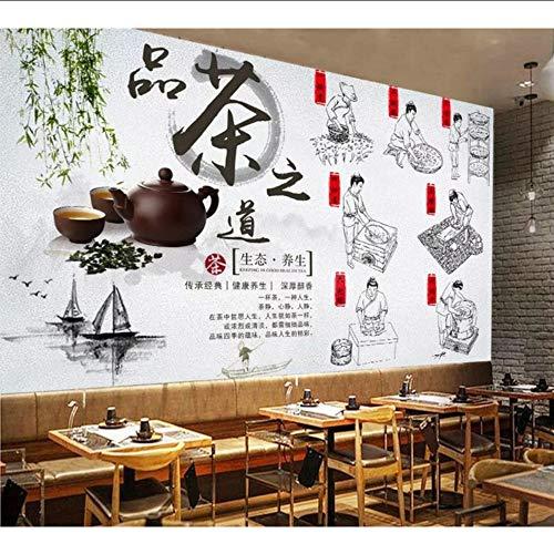 Wuyyii Aangepast behang muurschildering ecologische gezondheid thee ceremonie thee plukken productieproces Chinese achtergrond behang 280x200cm