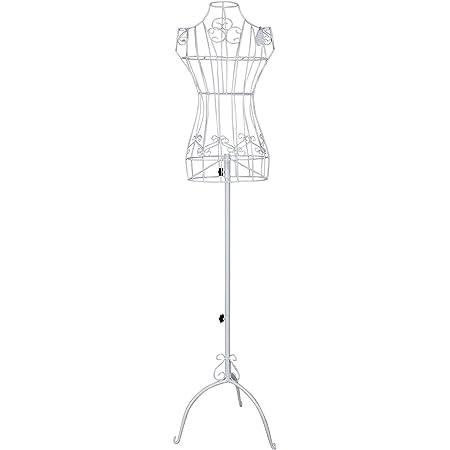 SONGMICS Mannequin Femme, Buste, en Forme de Robe Vintage, en Fils métallique, Hauteur réglable 114-170 cm, Mannequin de vitrine, Blanc HRA10W