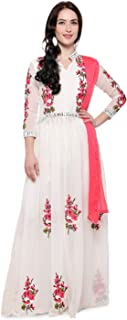 STYLE AMAZE Women's Semi-Stitched Embroidered Festival Collection Anarkali Salwar Suit Salwar Suit Material (Off White, Free Size)