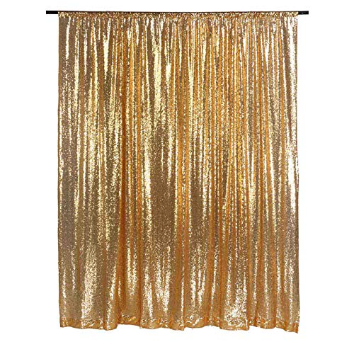 LQIAO Gold 5x7ft Wedding Sequin Curtain Photography Background Sequin Fabric,Wedding Sequin Backdrop Curtain Panel, Pocket 5x7FT(150x215cm)