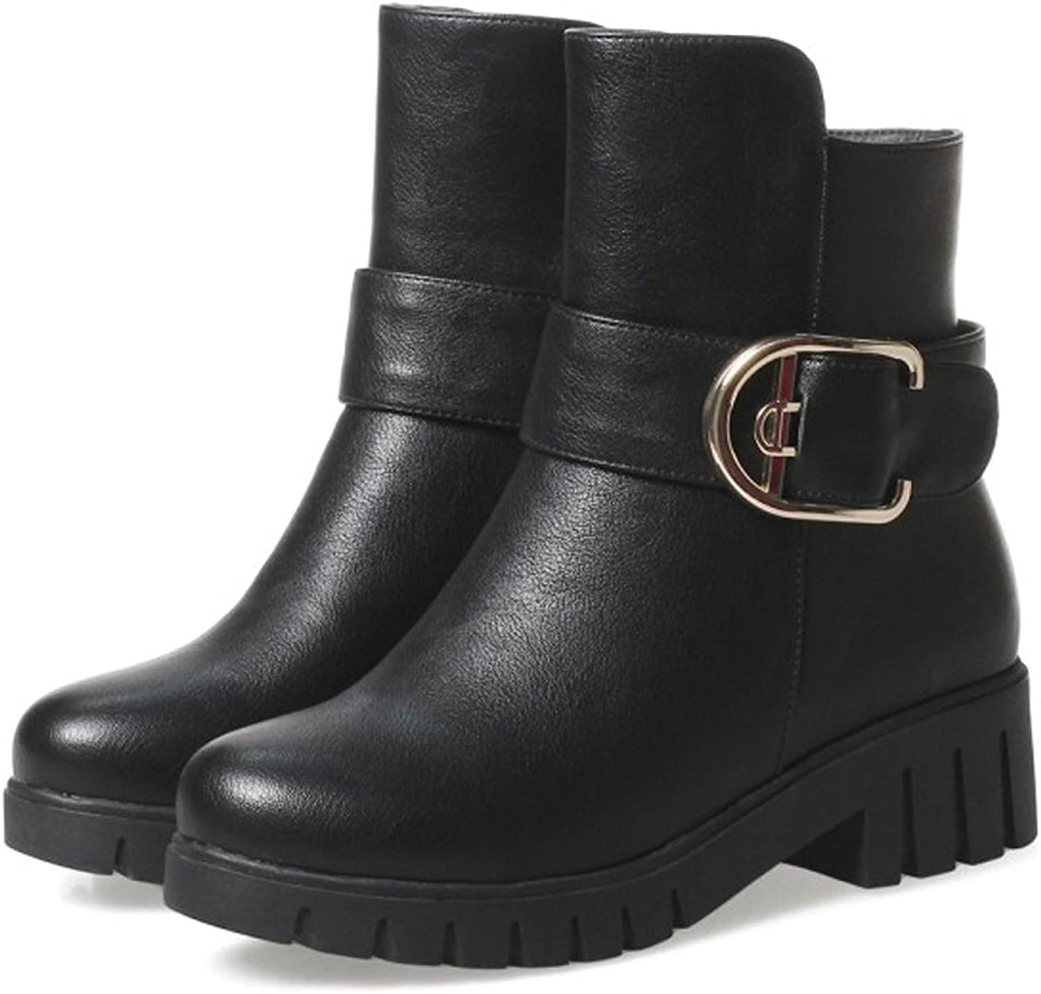 QZUnique Women Zipper Low Chunky Heel Casual Ankle Booties PU Surface Martin Boots for Winter