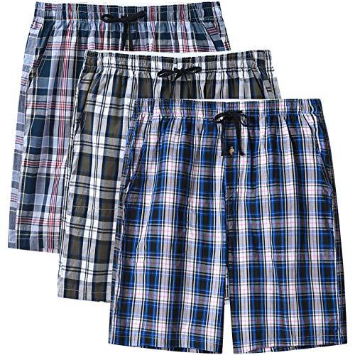 MoFiz Herren Schlafanzughosen Kurz Pyjamahose Karierte Nachtwäsche Klassisch Baumwolle Sleep Shorts 3 Pack L