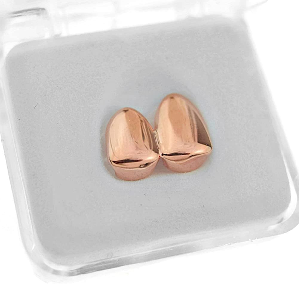 Double Tooth Grillz 14k Rose Gold Plated Upper Top Right Side Canine Two Teeth Grills