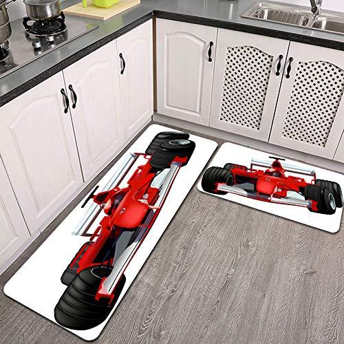 2 Piezas Alfombrillas de Cocina,Ilustración Coloreada del Coche de Carreras F1 Antideslizante Alfombra para Puerta de Baño Juego de alfombras Cocina Lavables