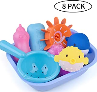 Citmage Baby Bath Toy Cartoon Dolphin and Puffer Fish Indoor and Outdoor Water-Spraying Toys Flexible and Sturable Bathtime Baby Goys and Girls with Receiving Basin, Turntable and Spoon (8 Pack)