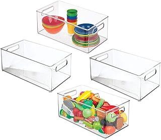 mDesign (lot de 4) bac rangement jouet – grande boîte de rangement plastique solide pour la chambre d'enfants – boîte avec...