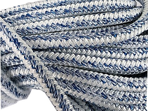 3/4 Inch by 200 Feet 12 Carrier, 24 Strand Polyester Arborist Bull Rope, White/Blue