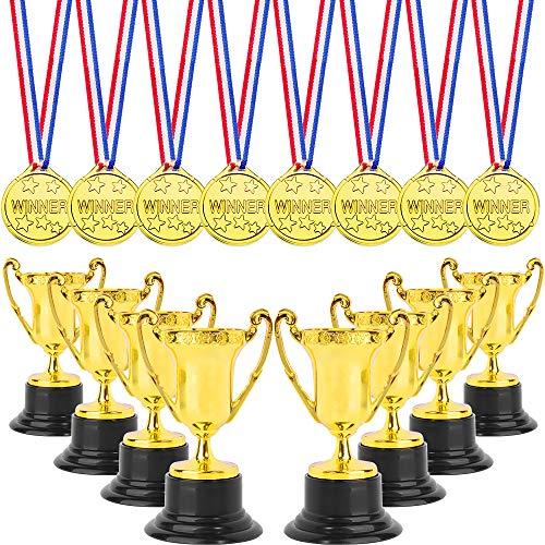 ONESING 16 Pcs Trophy Party Favor Trophy Award Set Trophies Medals Set Gold Award Trophy Cups Winner Award Medals for Rewards, Winning Prizes, Competitions